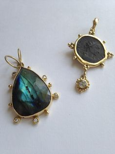 Patricia Marie Fine Jewelry Labradorite and Diamond with 18k Royal Gold. Ancient Coin with white sapphire and 18k Royal.