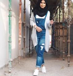 Jumpsuit with hijab Hijab Casual, Hijab Outfit, Hijab Chic, Denim Outfit, Casual Wear, Jumpsuit Hijab, Denim Jumpsuit, Overalls, Melissa Benoist