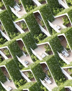 The landscaped A-Frames on the facade of our Hilton Hotel In Hyderabad by Precht Architecture Durable, Architecture Unique, Futuristic Architecture, Facade Architecture, Concept Architecture, Sustainable Architecture, Sustainable Design, Landscape Architecture, Landscape Design