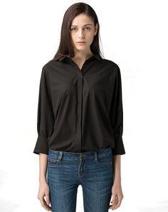 #AdoreWe #VIPme Blouses & Shirts - SAINTY Black Half Sleeve Plain Oversized Casual Shirt - AdoreWe.com