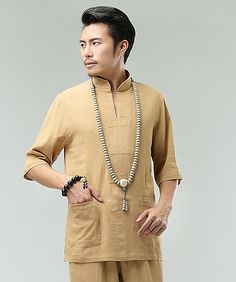 Yellow Buttonless Chinese Men Casual Loose Han Chinese Shirt via Asia-Sale Best Tai Chi, Kung Fu Clothing