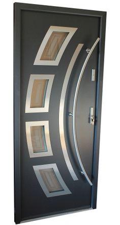 """""""Miami"""" - Stainless Steel Entry Door in Grey Metallic"""