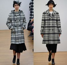 Comme des Garçons Comme des Garçons 2014-2015 Fall Autumn Winter Womens Runway Looks - Paris Fashion Week Mode à Paris Prêt à Porter Défilés - Checks Ribbon Pleated Skirt Outerwear Coat Blazer Coat Culottes Gauchos Plaid Oversized Capecoat Peacoat Trench Coat Topcoat Cape Cloak Mantle Zipper Asymmetrical Hoodie Skirt Frock Dress Pinstripe