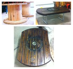 Tyson made a coffee table out of an electrical wooden spool. Wooden Cable Reel, Wooden Cable Spools, Wood Spool, Pipe Furniture, Unique Furniture, Wooden Furniture, Outdoor Furniture, Spool Crafts, Wooden Crafts