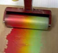 drop 3 little drops of color on craft mat and run over it with a brayer!