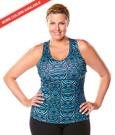 e05dcc3e07d Plus Size Activewear Racer Back Tank From Katie K Active - PLUS Model Mag.  Available in White Zebra