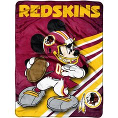 "COB Disney-NFL Rush 46"" x 60"" Micro Throw, Washington Redskins"
