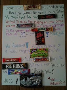 Candy bar thank you card.