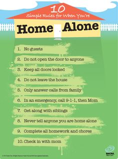 FREE Printable Home Alone Rules : rules to remind your children of the do's and don'ts of being on their own. Before you leave, go over the list with them to make sure they understand what's expected of them.