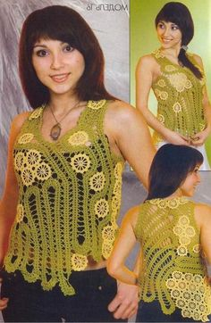 TRICO y CROCHET-madona-mía: Encaje de Brujas Modelos Sin patrón Crotchet Dress, Crochet Shirt, Crochet Top, Freeform Crochet, Irish Crochet, Crochet Stitches, Summer Diy, Summer Tops, Ethnic Fashion