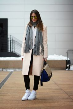 Pale pink coat + scarf + sneakers