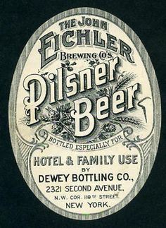 Pilsner Beer Label, New York, NY