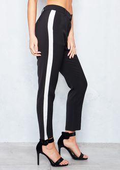 Ella Black Side Striped Trousers