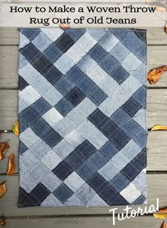 Easy-to-follow free pattern for using recycled denim blue jeans to make a woven throw rug.