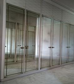 Bedrooms - Mirrorworks Antique Mirror Glass from MirrorWorks Hinged Wardrobe Doors, Closet Doors, Contractors Wardrobe, Antique Mirror Glass, Wardrobe Room, Wall Bookshelves, Condo Decorating, Bathroom Vanity Cabinets, Mirror Door