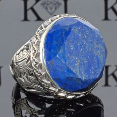 Afgan Lapis Lazuli 925 Sterling Silver Ring Adst. Fine Rings Gemstone