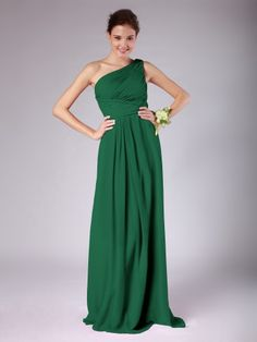 One Shoulder Pleated Chiffon Bridesmaid Dress   Plus sizes available! You can even custom dress color with them!