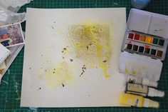 Mix media background tutorial using water colours and stencil with modeling paste