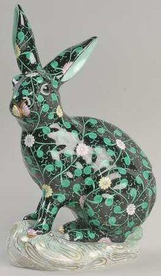 Herend Herend Figurine Rabbit-Dynasty-Black - No Box