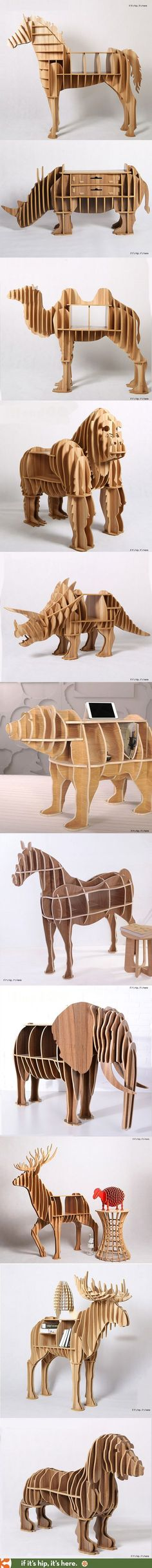 The 20 most awesome animal bookcases, desks and end tables you can buy. They ship flat-packed and are easily assembled without nails or glue. More at http://www.ifitshipitshere.com/awesome-animal-furniture/ 동물모양으로 디자인해서 보는 재미가 있고 서랍이나 책상 등으로 활용할수있어 실용성있다