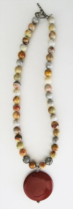 handmade crazy lace agate necklace