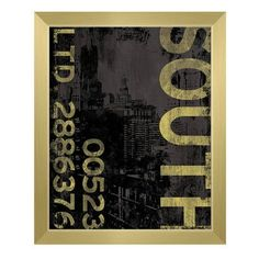 """Click Wall Art South Industry Framed Graphic Art on Canvas Frame Color: Gold, Size: 16.5"""" H x 13.5"""" W x 1"""" D"""