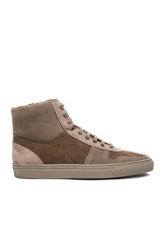 Robert Geller x Common Projects Suede High Top Sneakers in Taupe