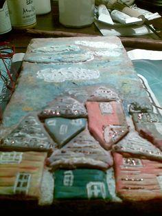 Mattonelle di recupero (fatte a mano) decorate con fimu per un paesaggio colorato