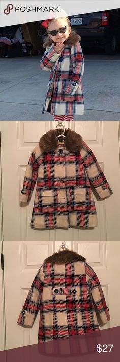 Mini Boden Heritage Coat cream,navy,red plaid Adorable winter coat! Faux fur collar is detachable. Warm quilted lining with dog print on the inside. 66% wool and 34% polyester. Machine wash then hang to dry. Mini Boden Jackets & Coats