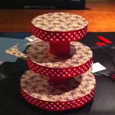 Homemade sock monkey cupcake tower.