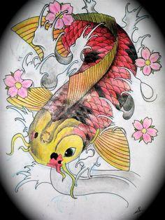 Plantillas para tatuajes del pez koi 1