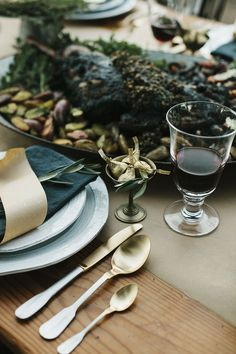 Image Via: Could I Have That? featuring the Glenna Dinnerware and Gold-Tipped Flatware #Anthropologie