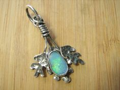 Triple Oak Leaf and Opal Pendant by CreativeEddy on Etsy, $185.00