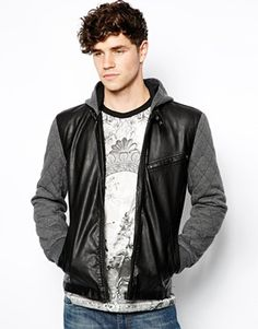 River Island Quilted Sleeve PU Bomber Jacket