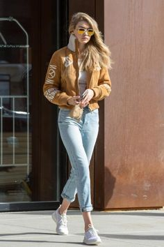 Gigi Hadid wearing Off-White Suede Bomber Jacket, Krewe Du Optic Breton Sunglasses in White Linen and Nike Roshe One Flyknit Sneakers