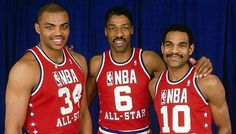 Charles Barkley played from 1984-2000. He was one of only four players in NBA history with at least 20,000 points, 10,000 rebounds and 4,000 assists, joining Kareem Abdul-Jabbar, Wilt Chamberlain and Karl Malone. Barkley left before his final year at Auburn and was selected with the 5th pick by the Philadelphia 76ers, two slots after the Bulls drafted Michael Jordan. He joined a team that included Julius Erving, Moses Malone and Maurice Cheeks, and took Philadelphia to the 1983 NBA title.