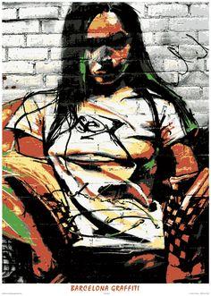 Barcelona Graffitti poster girl