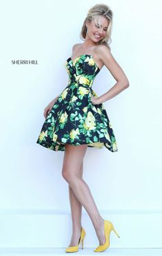 Strapless 2016 Sweetheart Neck Sherri Hill 50260 Short Homecoming Dresses Outlet Black/Yellow Floral Printed