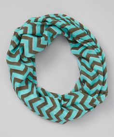 Light Teal & Brown Zigzag Infinity Scarf by Sweet Indigo #zulily #zulilyfinds