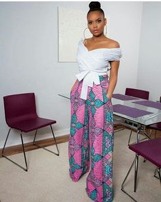 Feel awesome wearing Grass-fields African print pants, made from brilliant African fabric sourced from Cameroon. African Attire, African Wear, African Women, African Dress, African Style, African Print Pants, African Print Fashion, African Fashion Dresses, Ankara Fashion