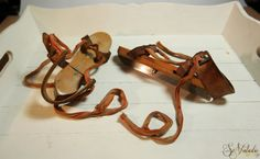 A Pair of Vintage Dutch (Frisian) wooden strap on ice skates for kids. Woven textile + leather straps and metal buckles. Hand carved wood skates for children from the Netherlands. Ideal for learning how to skate on ice and a beautiful pair for winter / Christmas home decoration purposes! On offer by SoVintastic on Etsy;-)