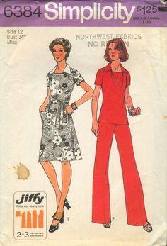 Simplicity 6384 Jiffy Vintage Tops Dresses Pants Knit