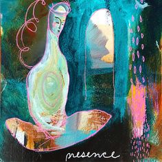 """Presence"" Brave Intuitive Painting by Flora Bowley. Yoga Painting, Peace Painting, Art Journal Inspiration, Painting Inspiration, Flora Bowley, Buddha Art, Mini Paintings, Henri Matisse, Pattern Art"
