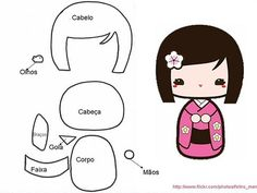 Free Kokeshi Doll Felt Template and Tutorial