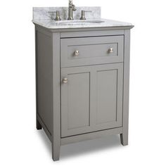 Bathroom Vanity Chatham Shaker With Carerra White Marble Top And Bowl Grey Sink Faucetssinks24 Inch