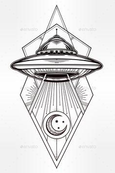 Alien Geometric UFO Background Vector illustration EPS