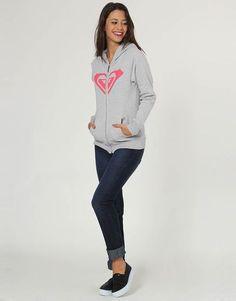 Moletom Roxy Midnight, modelagem regular; Composição: 50% algodão / 50% poliéster; Fechamento frontal em zíper, capuz, bolso canguru, barra e punhos canelados; Estampa frontal estilizada.