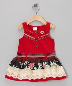 e5438ee69be7 Look at this #zulilyfind! Red Floral Drop-Waist Dress - Infant, Toddler