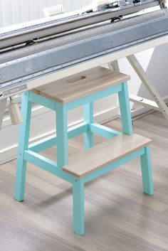 IKEA BEKVÄM step stool, turquoise, wood, wooden floor - Inspiration for my step stool DIY