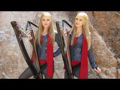 DOCTOR WHO Theme (Harp Twins electric) Camille and Kennerly. IT'S LIKE A MEDIEVAL VERSON OF THE DOCTOR WHO THEME SONG!